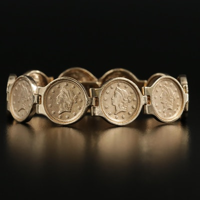 14K Yellow Gold Bracelet with Replica 1853 $1 Liberty Gold Coins