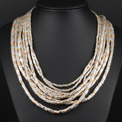 White and Brown Multi-Strand Beaded Necklace