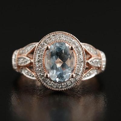 10K Gold Aquamarine and Diamond Ring with Lotus Motif Shoulders
