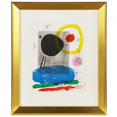 """Joan Miró Color Lithograph for """"Derrière le Miroir"""", 1965"""