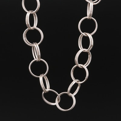 Sterling Silver Double Hoop Necklace