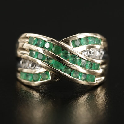 10K Gold Emerald and Diamond Crossover Band