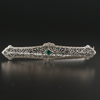 1930s 10K White Gold Green Glass Filigree Brooch