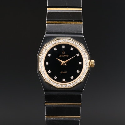 Concord Mariner SG Diamond Bezel 18K Gold and Stainless Steel Quartz Wristwatch