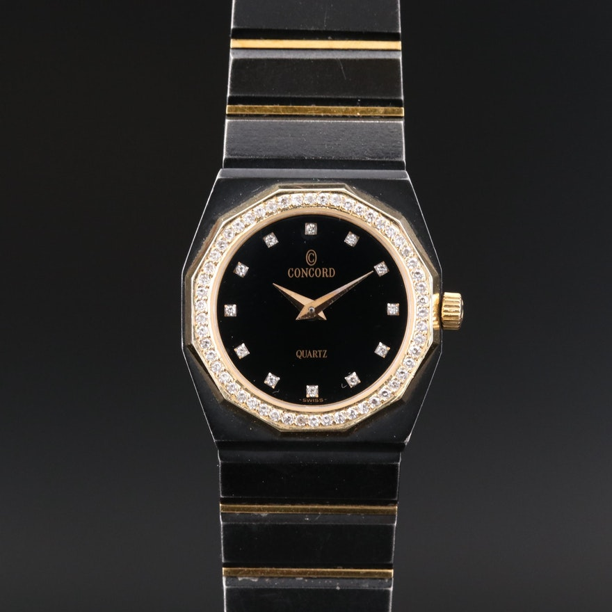 Concord Mariner SG Diamond Bezel 18K Gold and Stainless Steel Quartz Wristwatch