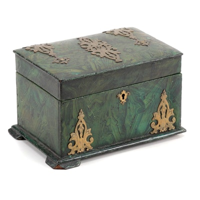 Victorian Faux Malachite-Painted Tea Caddy, Mid to Late 19th Century