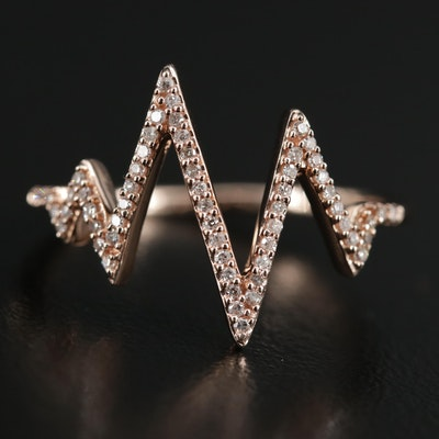 10K Gold Diamond Zig-Zag Ring