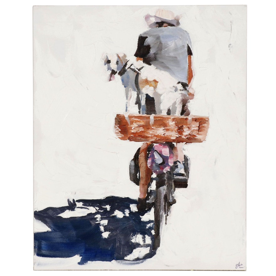 James Coates Oil Painting of Cyclist with Dog