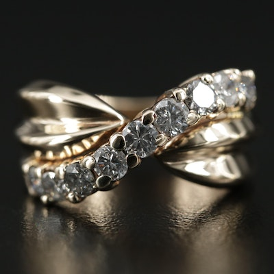 10K Gold Diamond Crossover Ring