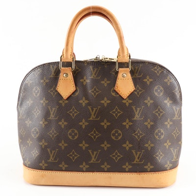 Louis Vuitton Alma Satchel in Monogram Canvas and Vachetta Leather