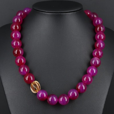 Pink Agate Beaded Necklace with Sterling Silver Bead and Clasp