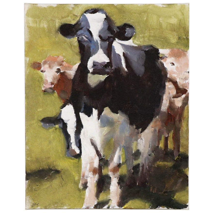 James Coates Oil Painting of Cows
