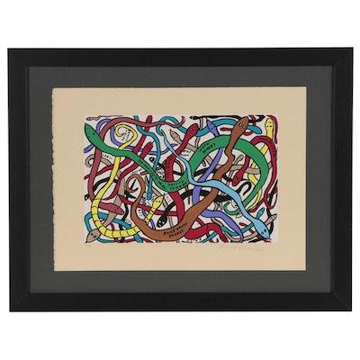 """Howard Finster Serigraph """"Snakes"""""""