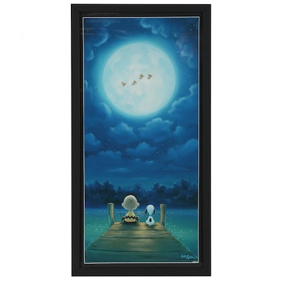 "Giclée After Rob Kaz Peanuts Illustration ""Woodstock Over the Dock"""