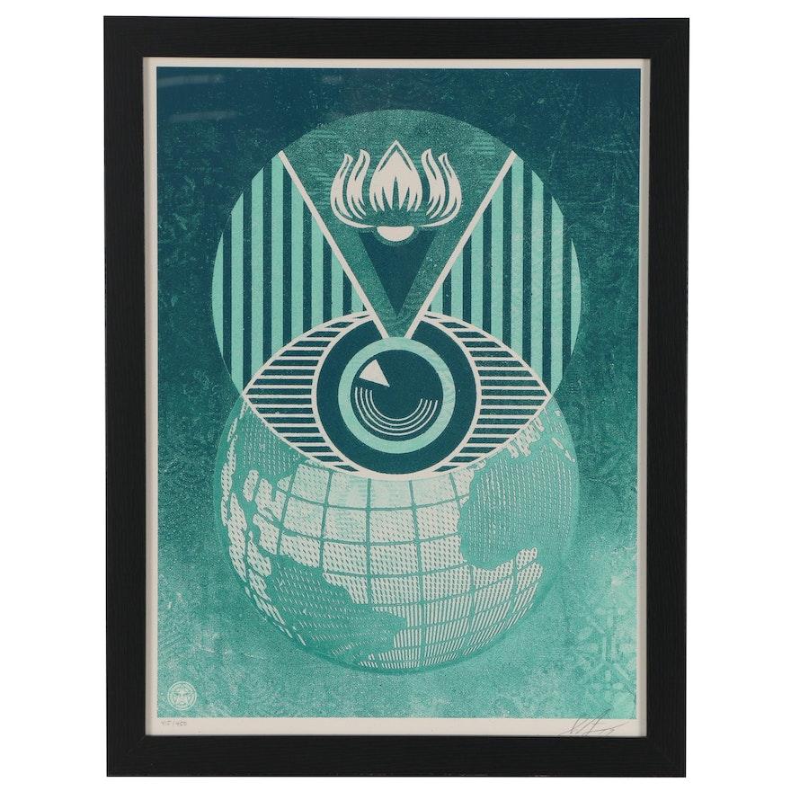 "Shepard Fairey Serigraph ""Flint Eye Alert Globe"", 2017"