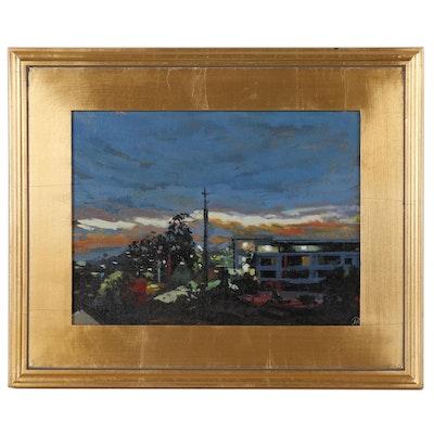 "Martin Azari Oil Painting ""San Diego at Night"""