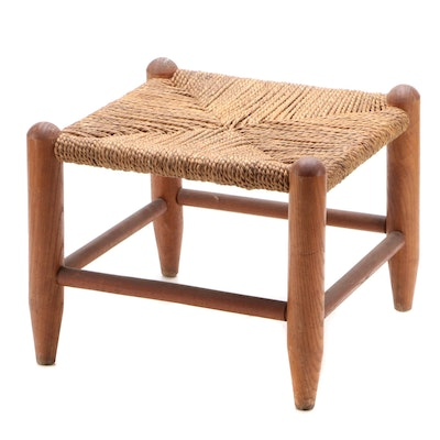 Wicker and Wood Foot Rest, Late 20th-Century