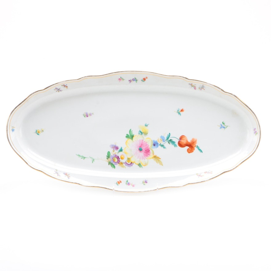 Meissen Hand-Painted Porcelain Fish Platter, Mid to Late 20th Century
