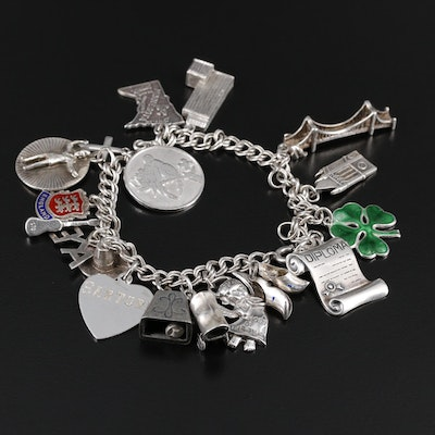 Sterling Silver Charm Bracelet Featuring Travel Themes and Enamel