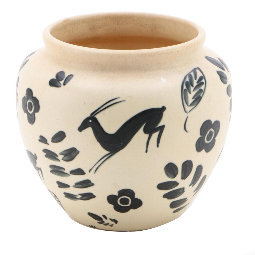 """Weller Pottery """"Cretone"""" Ivory Glaze Vase with Gazelles and Flowers, 1930–1932"""
