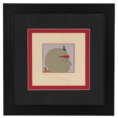 Peter Max Lithograph of Head with Figures