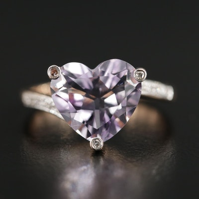 14K Gold Amethyst Heart Ring with Diamond Accented Shoulders