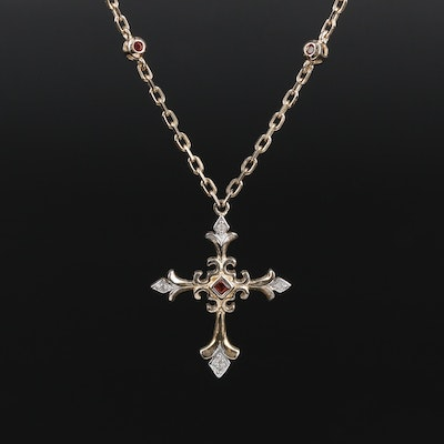 Sterling Silver Garnet and Diamond Fleurie Cross Necklace