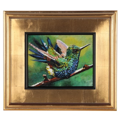 Yary Dluhos Oil Painting over Giclée of a Hummingbird