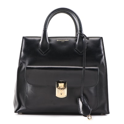 Balenciaga Padlock All Afternoon Mini Tote in Black Leather