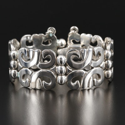 Mexican Sterling Silver Panel Bracelet