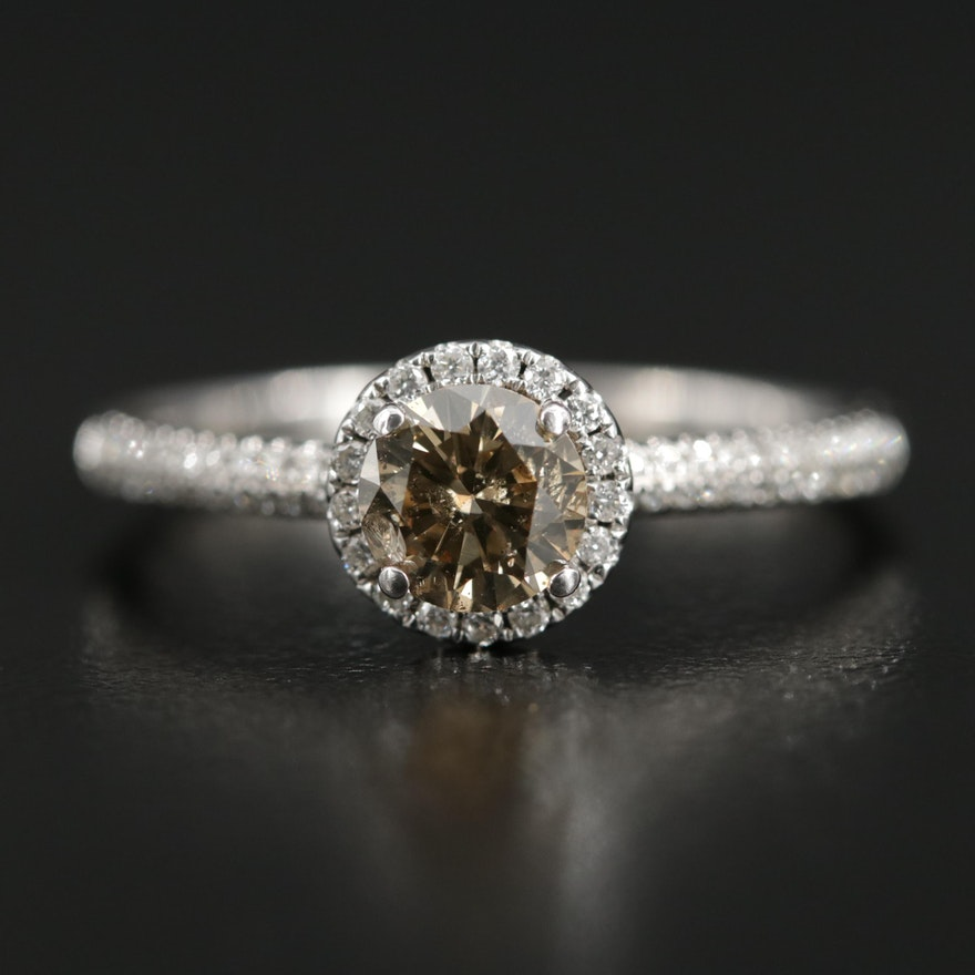 18K Gold Diamond Halo Ring