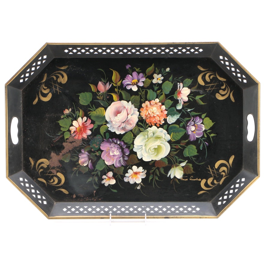 """Nashco"" Hand-Painted Toleware Floral Serving Tray with Handles, circa 1950s"