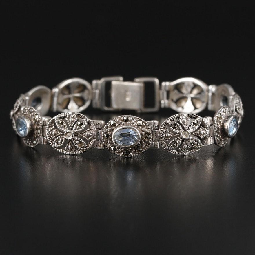 Sterling Silver Topaz and Marcasite Bracelet