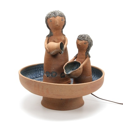Solveig Cox Earthenware Figural Fountain, Mid to Late 20th Century