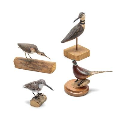Hand-Painted Wood Bird Sculptures