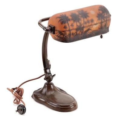 Handel Bronzed Metal Adjustable Desk Lamp with Reverse Painted Glass Shade
