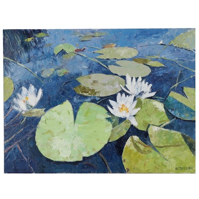 Mario Idkowiak Oil Painting of Lotus Flowers