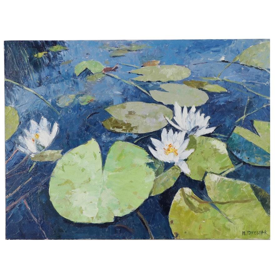 Mario Idkowiak Oil Painting of Lotus Flowers
