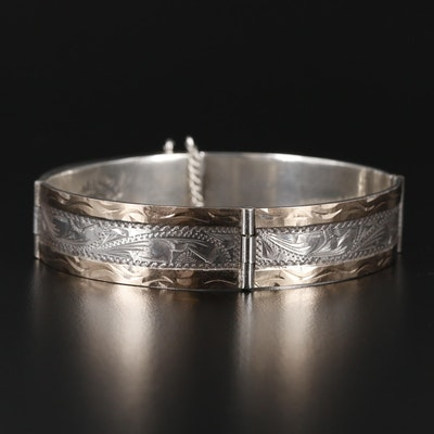 Voyt Silversmiths Mexican Sterling Engraved Bracelet with 10K Accents
