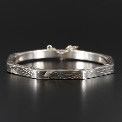 Sterling Silver Etched Octagonal Bangle