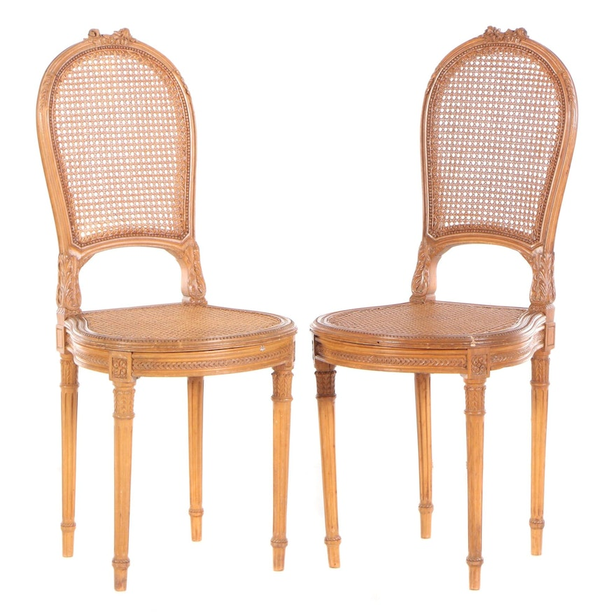 Louis XVI Style Walnut Cane Upholstered Side Chairs, 20th Century
