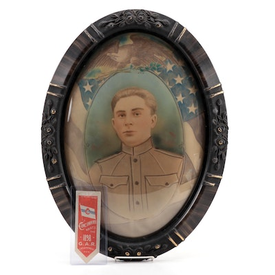 U.S. Army Soldier Hand Colored Portrait in Oval Frame with 1898 GAR Ribbon