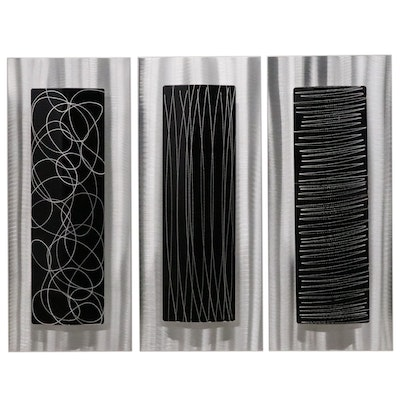 Jon Allen Abstract Triptych Metal Wall Sculptures