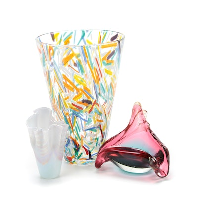 Ornamental Blown Glass Studio Ruffled Vase and Other Art Glass Décor