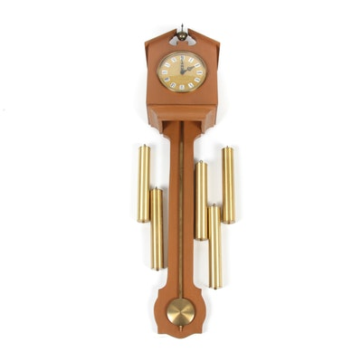 Brass and Wood Long Wall Clock