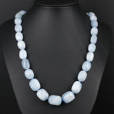Hand Knotted Beryl Necklace with Sterling Silver Clasp