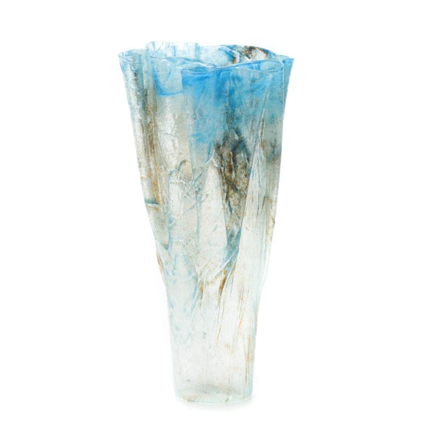 Handblown Folded Rim Art Glass Flower Vase