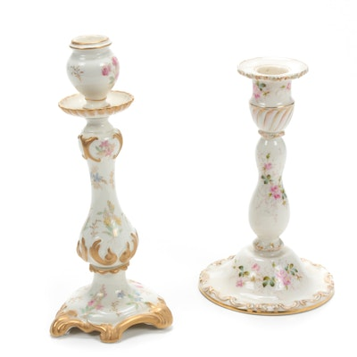 Belleek Willets and Davis Collamore & Co. Porcelain Candlesticks