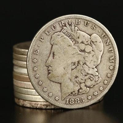 Ten Morgan Silver Dollars, 1879 to 1900