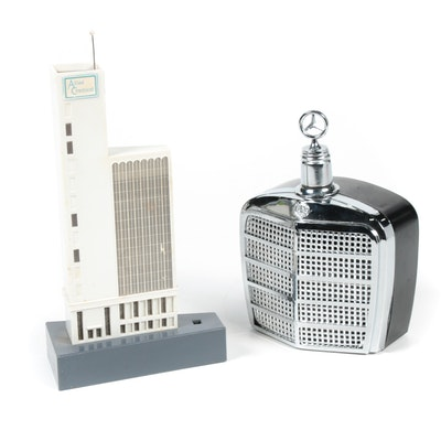 Mercedes-Benz Grille Flask and Industrial Contacts Transistor Radio, Mid 20th C.